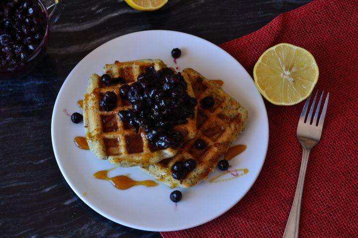 Lemon and Poppy Seed Waffles with Blueberries (V)