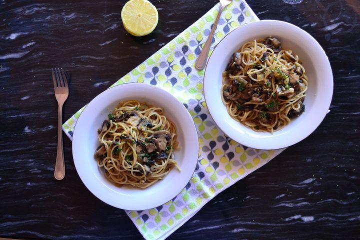 Lemon and Soy Sauce MushroomSpaghetti
