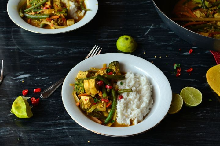Thai Style Yellow Curry Tofu Stir Fry with Sticky Coconut Jasmine Rice