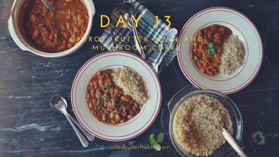 Day 13: Carrot, Butter Bean, and Mushroom Curry